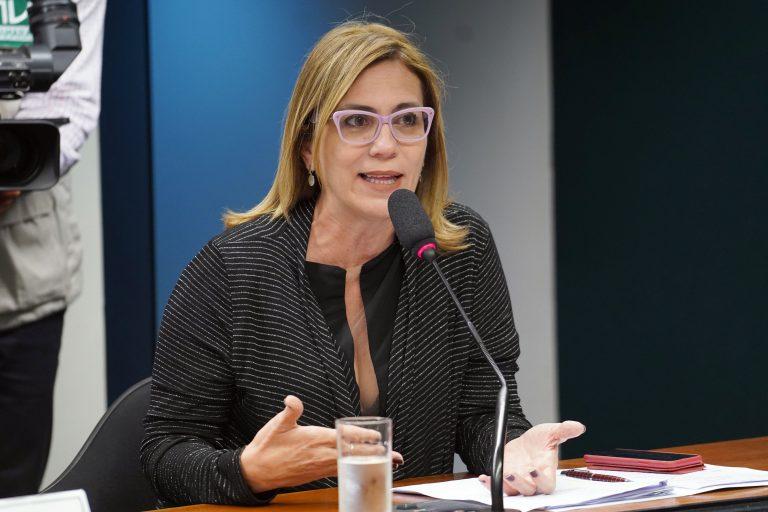 Deputada Rosana Valle está sentanda falando ao microfone. Ela é loira, usa óculos e veste uma blusa preta