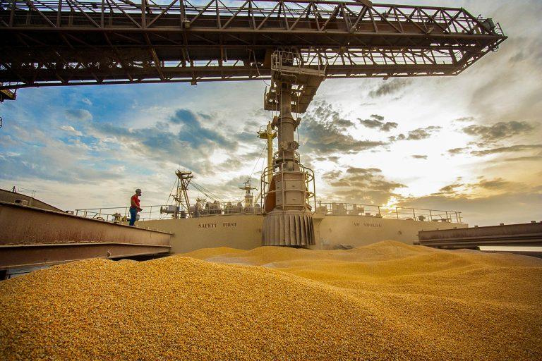 Economia - exportação comércio exterior commodities estivadores balança comercial (milho embarcado em navio no Porto de Paranaguá-PR)