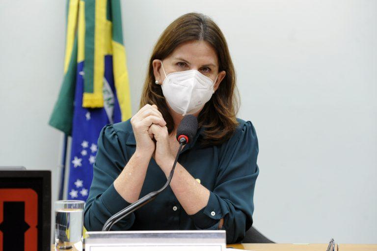 Deputada Carmen Zanotto está sentada, de máscara, falando ao microfone
