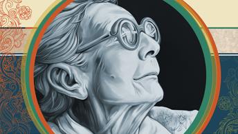 Desenho de uma mullher idosa em preto e branco. Ela usa óculos e está de perfil