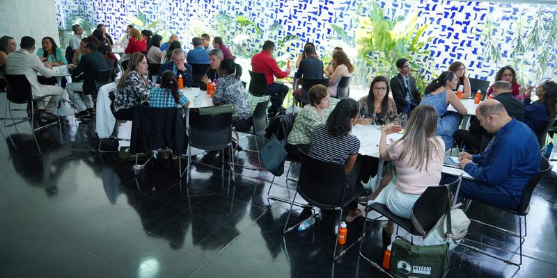 Universitários do estágio-participação reunidos em plenário para foto