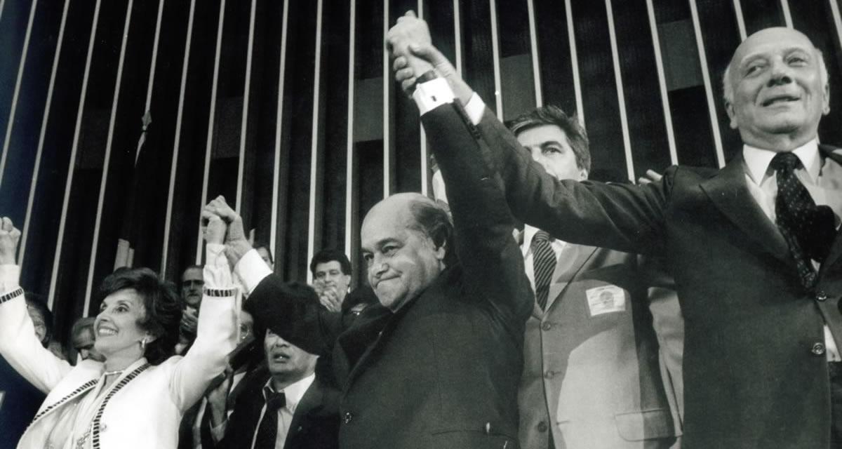 Eleição do presidente Tancredo Neves no Colégio Eleitoral, contra o deputado governista Paulo Maluf, em 1-1-1985. Foto: Arquivo CD