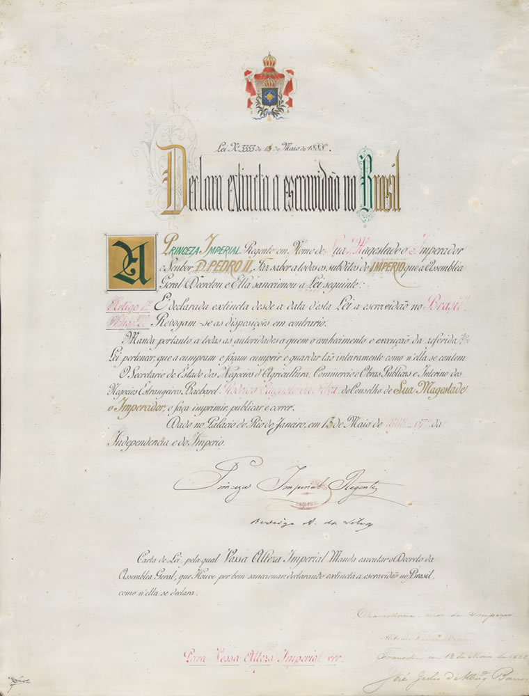 Lei Áurea, que pôs fim à escravidão no Brasil, em 1888. Foto: Arquivo CD